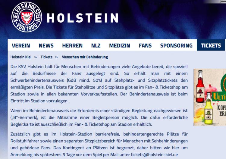 Screenshot Website Holstein Kiel