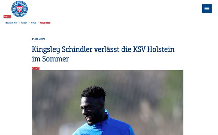 Screenshot Holstein Kiel Website - Kingsley Schneider im blauen Trainingsanzug