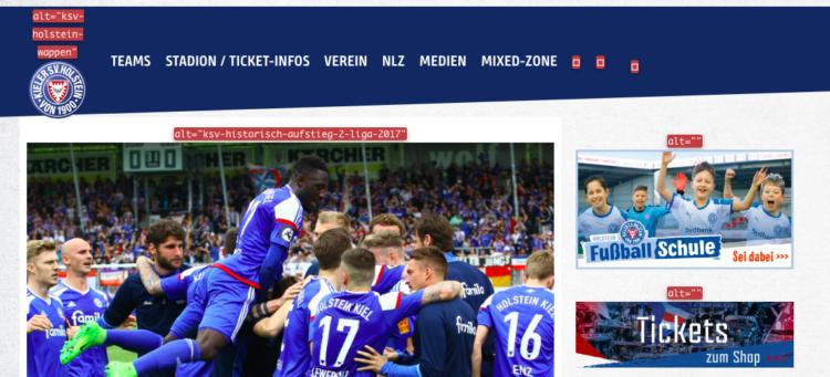 Screenshot von der Website: zeigt fehlende / falsche Alttags