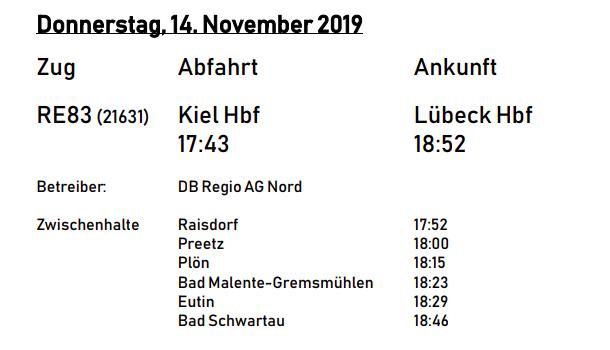 Reisezeiten von Kiel nach Lübeck