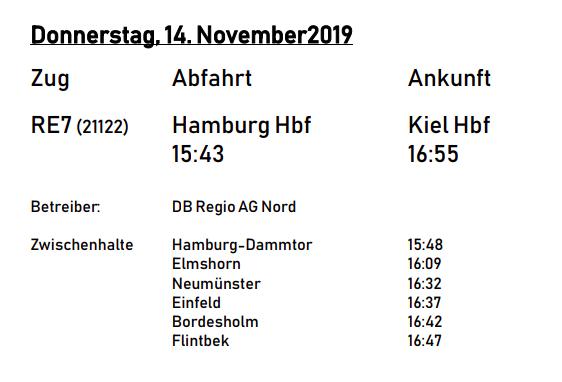 Reisezeiten Hamburg-Kiel